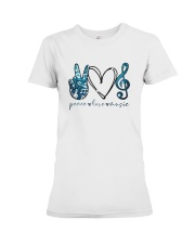 Key Sol Blue Peace Love Music Shirt Premium Fit Ladies Tee thumbnail