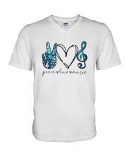 Key Sol Blue Peace Love Music Shirt V-Neck T-Shirt thumbnail