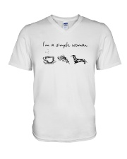 Coffee Pizza Dachshund I'm A Simple Woman Shirt V-Neck T-Shirt thumbnail