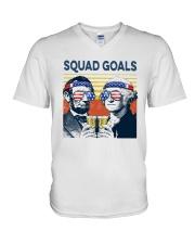 Vintage American Flag Squad Goals Shirt V-Neck T-Shirt thumbnail