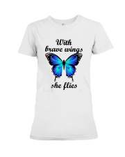 Butterfly With Brave Wings She Flies Shirt Premium Fit Ladies Tee thumbnail