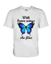 Butterfly With Brave Wings She Flies Shirt V-Neck T-Shirt thumbnail