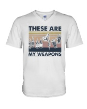 Vintage These Are My Weapons Shirt V-Neck T-Shirt thumbnail