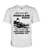 Never Piss Off A Rhode Island Woman Shirt V-Neck T-Shirt thumbnail