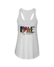 American Flag Love My Veteran Shirt Ladies Flowy Tank thumbnail
