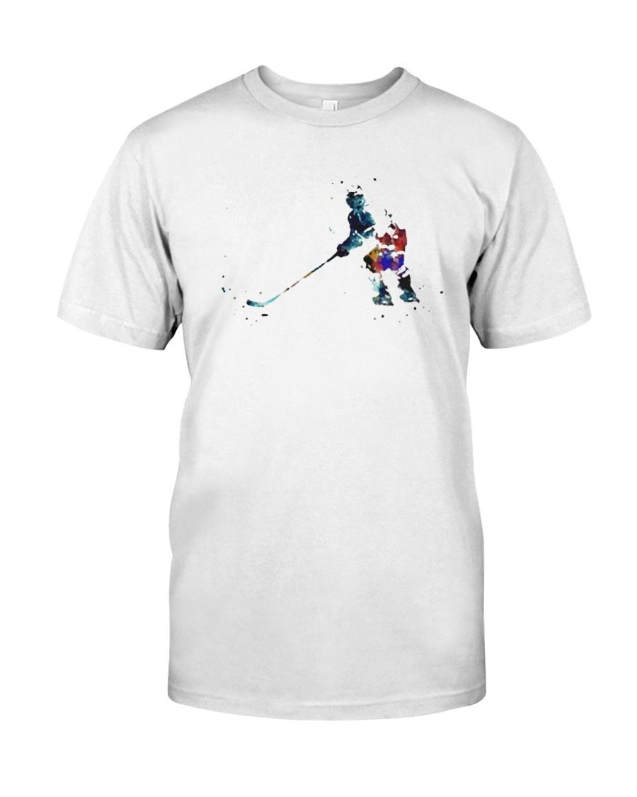 Watercolor Hockey Player Shirt Classic T-Shirt