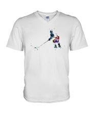 Watercolor Hockey Player Shirt V-Neck T-Shirt thumbnail