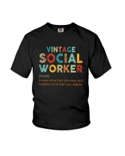 Vintage Social Worker Knows More She Says Shirt Youth T-Shirt thumbnail
