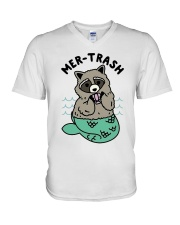 Mermaid Raccoon Mer Trash Shirt V-Neck T-Shirt thumbnail