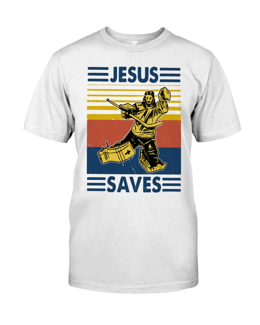 Vintage Hockey Jesus Save Shirt Classic T-Shirt