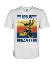 Vintage Hockey Jesus Save Shirt V-Neck T-Shirt thumbnail