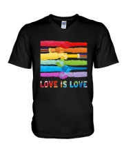Color Handshake Love Is Love Shirt V-Neck T-Shirt thumbnail