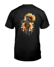 American Flag Sunflower Faith Shirt Classic T-Shirt back