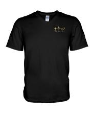 American Flag Sunflower Faith Shirt V-Neck T-Shirt thumbnail