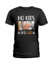 No Kids Just Cats Shirt Ladies T-Shirt thumbnail