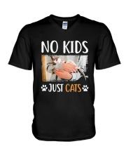 No Kids Just Cats Shirt V-Neck T-Shirt thumbnail