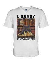 Library Black Cat Because Not Everything On Shirt V-Neck T-Shirt thumbnail