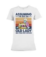 Vintage Sewing Masks Assuming Im Just Old Shirt Premium Fit Ladies Tee thumbnail
