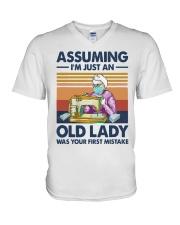 Vintage Sewing Masks Assuming Im Just Old Shirt V-Neck T-Shirt thumbnail