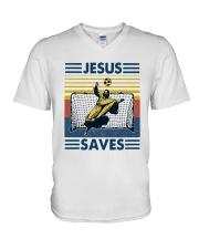 Vintage Soccer Jesus Saves Shirt V-Neck T-Shirt thumbnail