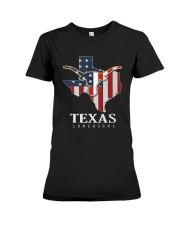 American Flag Texas Longhorn Shirt Premium Fit Ladies Tee thumbnail
