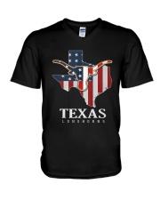 American Flag Texas Longhorn Shirt V-Neck T-Shirt thumbnail