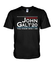 John Galt '20 You Know Who I Am Shirt V-Neck T-Shirt thumbnail