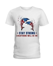 Flag Dolphin Stay Strong Everything Ok Shirt Ladies T-Shirt thumbnail