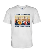 Vintage I Like Guitars More Than People Shirt V-Neck T-Shirt thumbnail