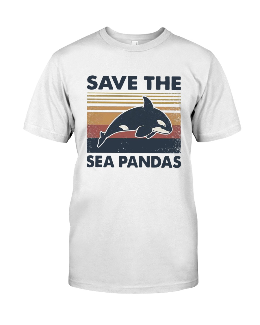 Vintage Dolphin Save The Sea Pandas Shirt Classic T-Shirt