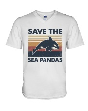 Vintage Dolphin Save The Sea Pandas Shirt V-Neck T-Shirt thumbnail