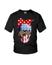 American Flag Skull Bow Leopard Glasses Youth T-Shirt thumbnail