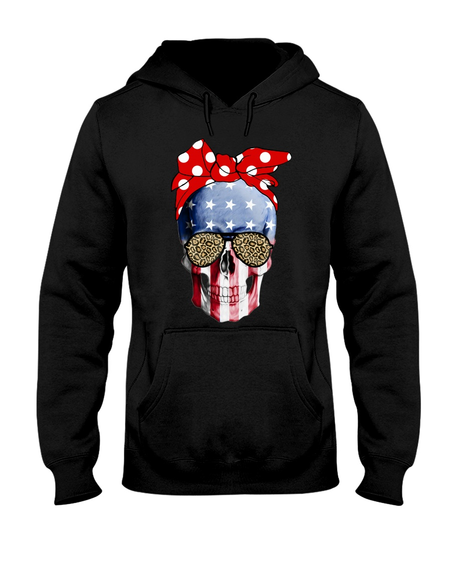 American Flag Skull Bow Leopard Glasses Hooded Sweatshirt