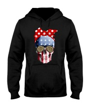 American Flag Skull Bow Leopard Glasses Hooded Sweatshirt front