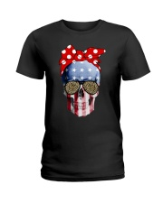 American Flag Skull Bow Leopard Glasses Ladies T-Shirt thumbnail