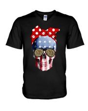 American Flag Skull Bow Leopard Glasses V-Neck T-Shirt thumbnail