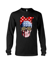 American Flag Skull Bow Leopard Glasses Long Sleeve Tee thumbnail