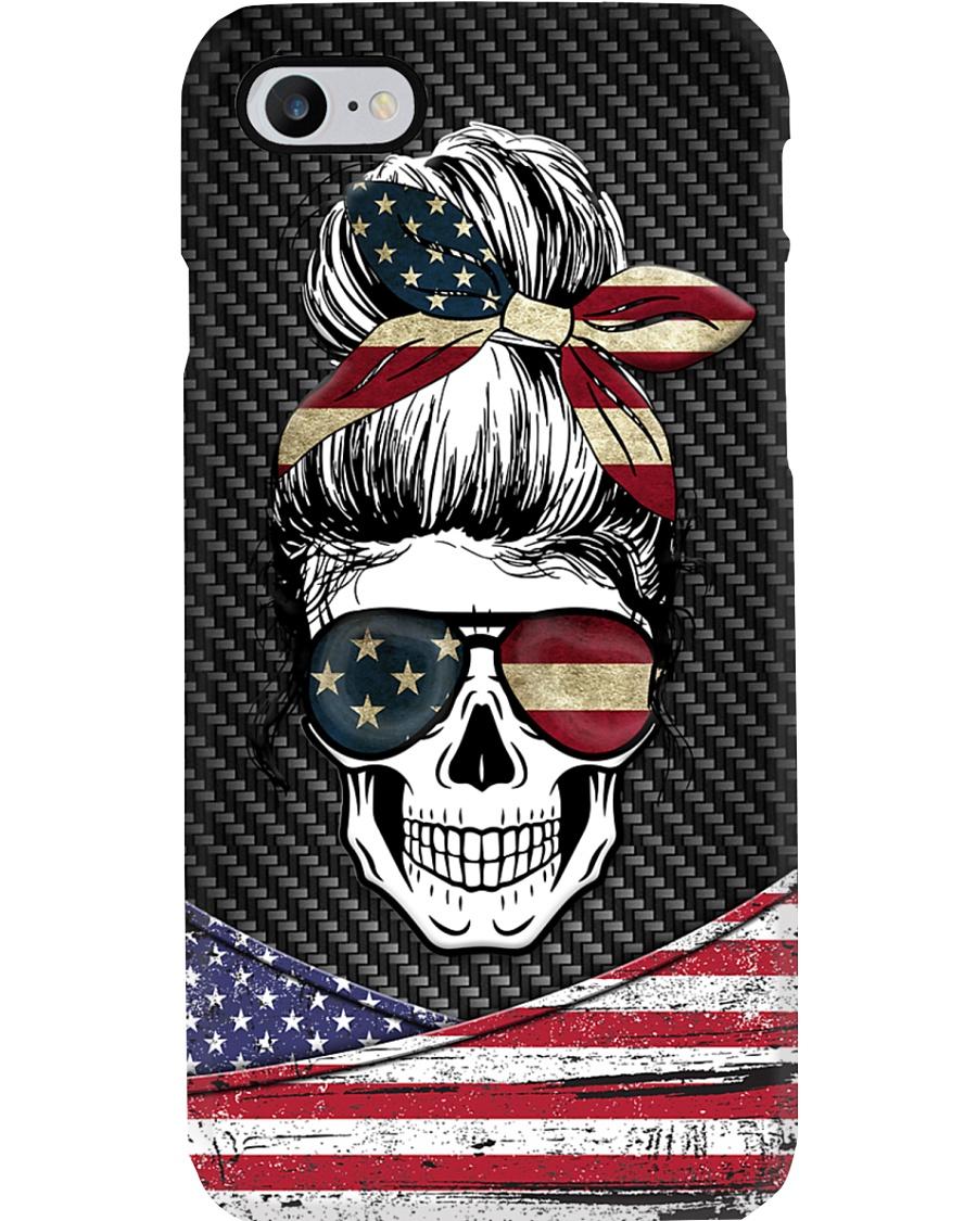 American Flag Skull Lady Phone Case