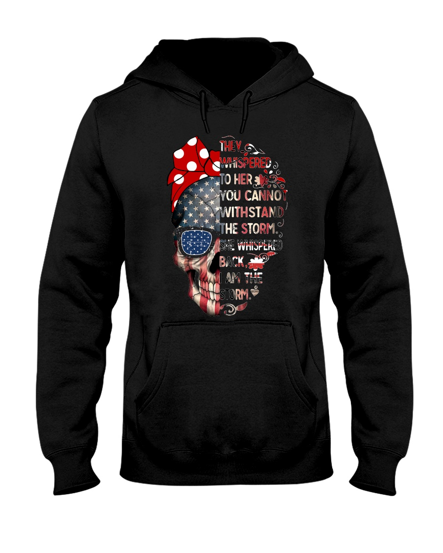 They Whispered To Her Skull Flag Hooded Sweatshirt