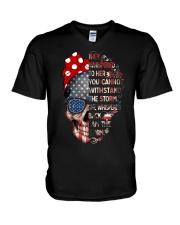 They Whispered To Her Skull Flag V-Neck T-Shirt thumbnail