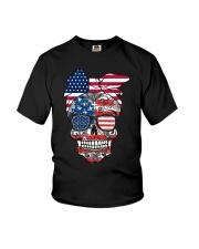 Sugar Skull Flag Bow Glasses Youth T-Shirt thumbnail