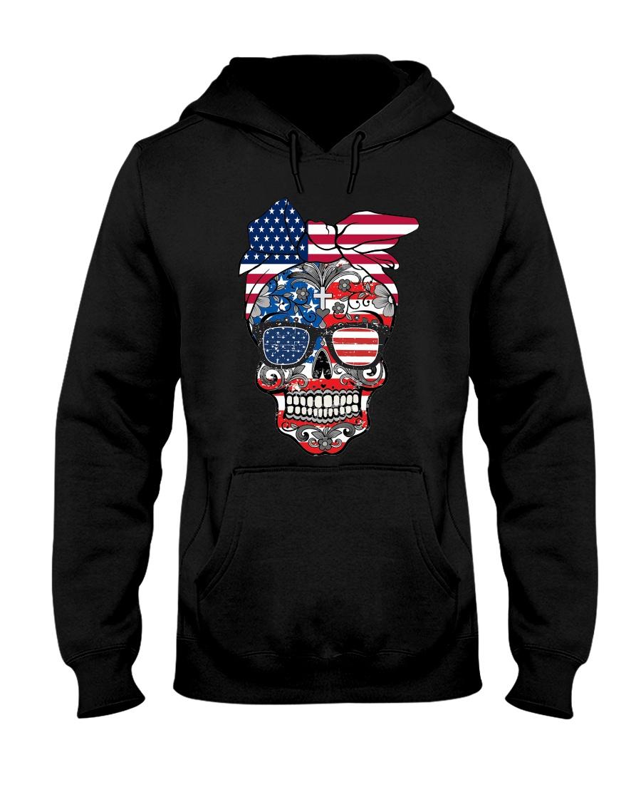 Sugar Skull Flag Bow Glasses Hooded Sweatshirt