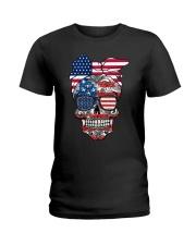 Sugar Skull Flag Bow Glasses Ladies T-Shirt thumbnail