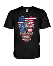 Sugar Skull Flag Bow Glasses V-Neck T-Shirt thumbnail