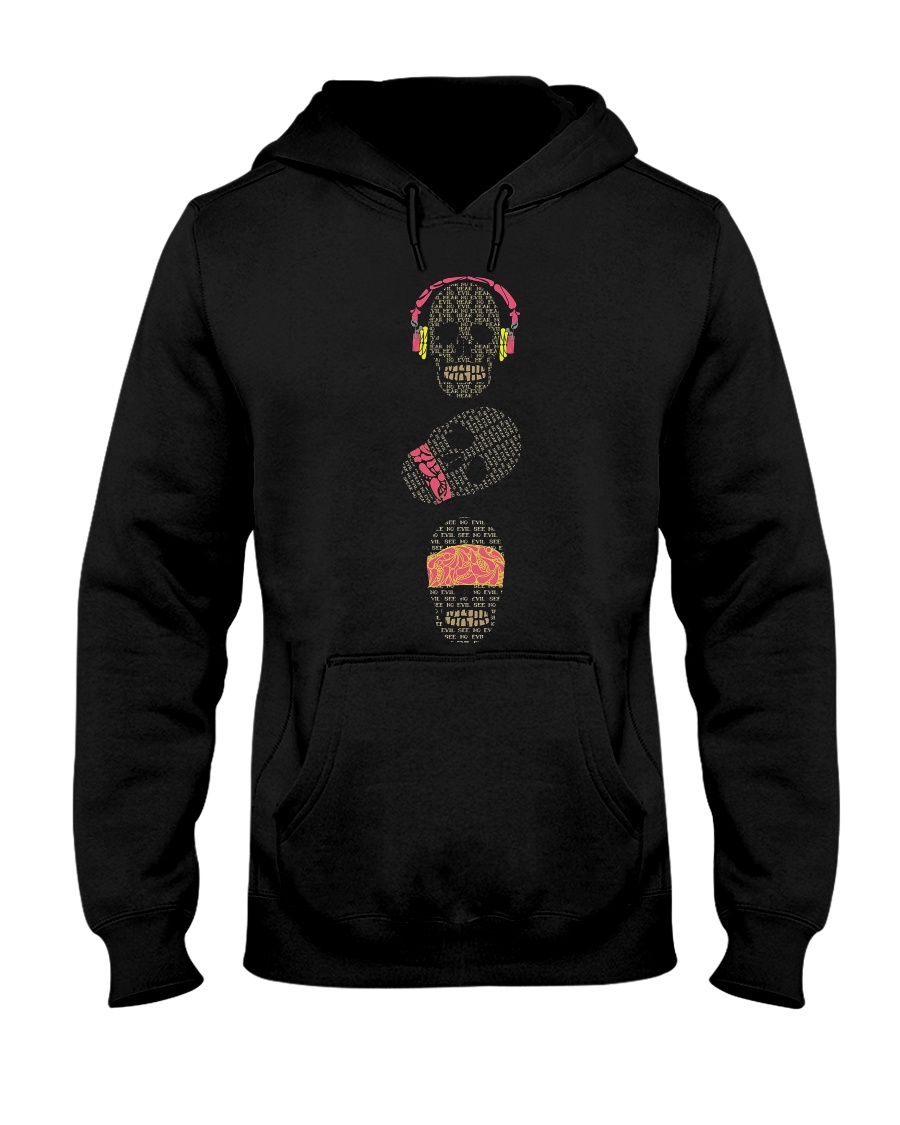 See no evil hear no evil speak no evil skulls Hooded Sweatshirt