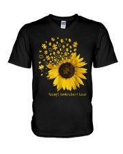 Sunflower Accept Understand Love Autism Shirt V-Neck T-Shirt thumbnail