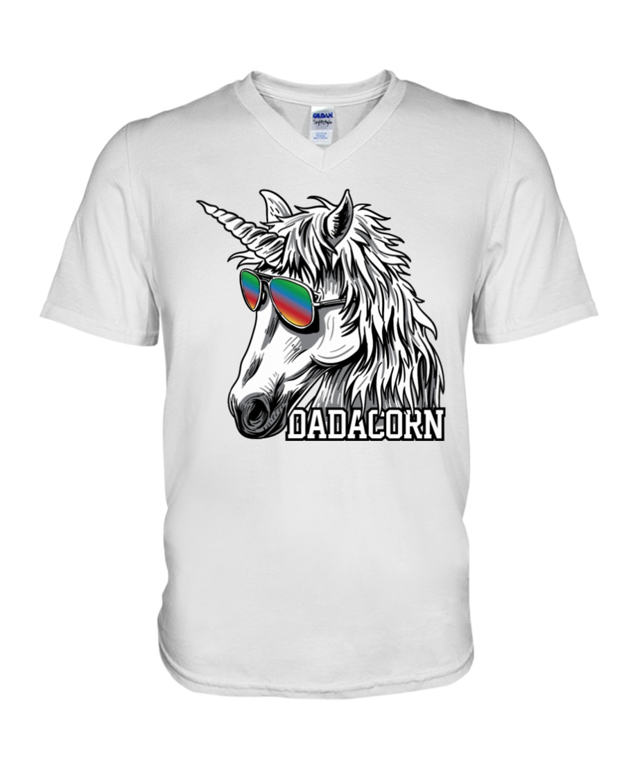 Dadacorn Unicorn Dad T-Shirt V-Neck T-Shirt