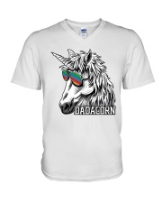 Dadacorn Unicorn Dad T-Shirt V-Neck T-Shirt front