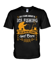 ALL I CARE ABOUT IS ICE FISHING V-Neck T-Shirt thumbnail