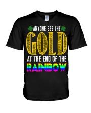 LuckyAnyone Gold Rainbow StPatricks  V-Neck T-Shirt thumbnail